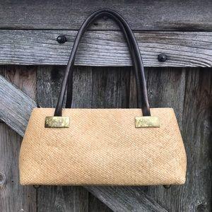 Vintage wicker woven basket purse shoulder bag